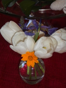 Simple spring flowers decorate the table